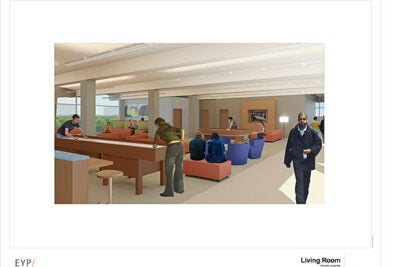 The SOCH renovations will address three social spaces: the event hall, the community room, and the living room, seen here.