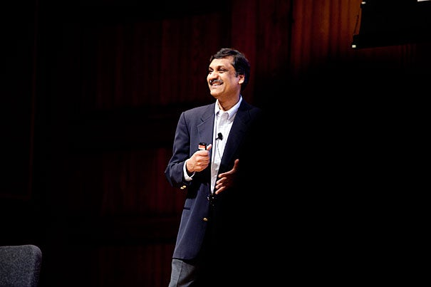"""Anant Agarwal, edX's first president, gave the keynote address at Harvard's second annual IT Summit, a daylong conference that also included a discussion of the University's strategic information technology plan by the CIO Council and 30 afternoon panels and presentations. """"The courses we offer on edX are going to be Harvard hard, MIT hard,"""" he said. """"They're going to mean something."""""""