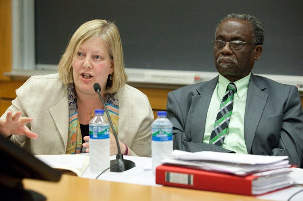 "Carol Steiker and Lloyd Barnett were two of the six experts speaking on ""The Death Penalty: Hanging by a Thread,"" part of a two-day international conference on the death penalty at Harvard Law School. Steiker said the death penalty is in decline in the U.S. but questions whether a Supreme Court decision banning the death penalty would be desirable. It is better, perhaps, to simply let such laws be ""hollowed out,"" state by state, she said."