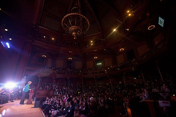 """""""We're all inspired by you, by your dedication to Harvard's mission and your commitment to excellence,"""" President Drew Faust told the 49 Harvard Heroes."""