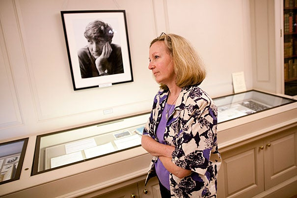 """Leslie Morris, Houghton's curator of modern books and manuscripts, assembled """"John Updike: A Glimpse from the Archive,"""" an exhibit on view at the Houghton Library through June 30. Three glass cases are clever summaries of where Updike came from intellectually, how he worked, and how eccentric literary archives can be."""