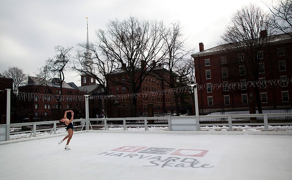 Harvard Graduate School of Design student Trude Renwick (pictured) skates on the ice installed in front of Harvard's Science Center for students and members of the community to enjoy throughout the winter months. Stephanie Mitchell/Harvard Staff Photographer