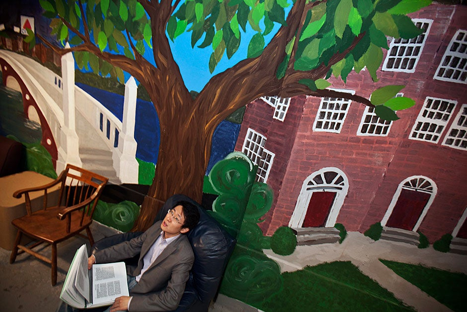 Luchen Wang '14 reads under the imagined shade of a tree that casts its branches along the mural decorating the walls of the Quincy House basement. Kris Snibbe/Harvard Staff Photographer