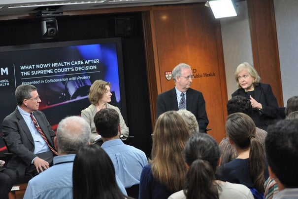 """The panel """"What Now? Health Care After the Supreme Court's Decision"""" focused in part on the changes in the law's Medicaid provisions. Experts Robert Blendon (from left), Wendy Mariner, John McDonough, and Regina Herzlinger weighed in on the topic."""