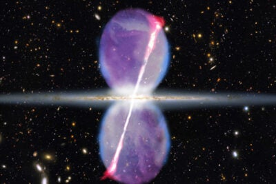 This artist's conception shows an edge-on view of the Milky Way galaxy. Newly discovered gamma ray jets (pink) extend for 27,000 light-years above and below the galactic plane, and are tilted at an angle of 15 degrees. Previously known gamma ray bubbles are shown in purple. The bubbles and jets suggest that our galactic center was much more active in the past than it is today.