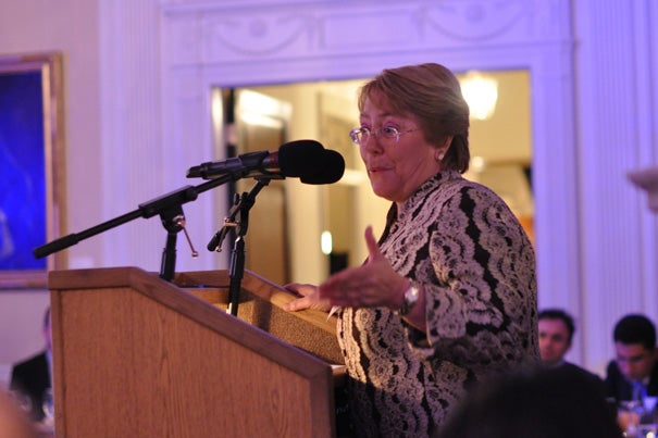 Michelle Bachelet, United Nations undersecretary general for women and former president of Chile, delivered the keynote speech at Harvard's inaugural Ministerial Health Leaders' Forum.