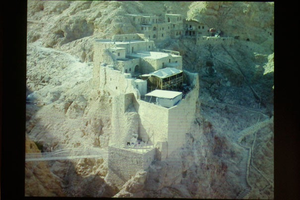Archaeologist Robert Mason spoke at the Semitic Museum about the discovery of mysterious rock formations near the Syrian monastery Deir Mar Musa (above), and the need for further exploration.