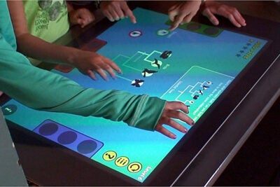 Multi-touch tables allow several users to work simultaneously — on independent problems or in collaboration on a single project.