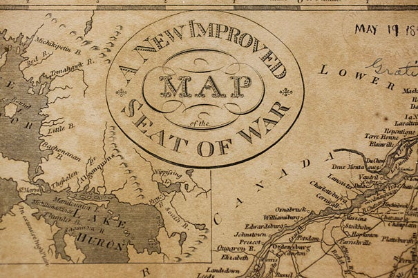 """A detail from an 1817 map, engraved by D. Haines, showing the """"seat of war"""" — the vast North American territory in dispute during the War of 1812. (Courtesy of the Harvard Map Collection)"""