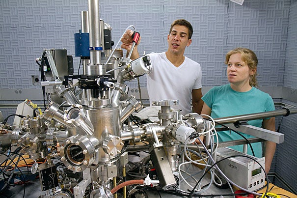 "In an effort to better understand the phase, called the ""pseudogap,"" Associate Professor of Physics Jenny Hoffman (right) and Ilija Zeljkovic, a graduate student working in Hoffman's lab, began studying where oxygen atoms — a critical element added (""doped"") to a copper-based ceramic to create the superconducting material —are located in the material's crystal structure."