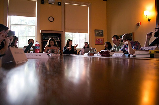 "Harvard Professor Maria Tatar (center) led a group of teachers in a summer seminar sponsored by the National Endowment for the Humanities, ""Golden Compasses as Moral Compasses: The Ethics and Aesthetics of Fairy Tales and Fantasy.""  Sixteen teachers (out of 250 applicants) were chosen to attend the four-week program at Harvard."