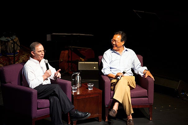 """Steve Seidel, director of Arts in Education at the Harvard Graduate School of Education (left) and cellist Yo-Yo Ma, artistic director of the Silk Road Project, spoke at Farkas Hall in an event titled """"The Arts and Passion-Driven Learning,"""" which explored how to encourage learning."""