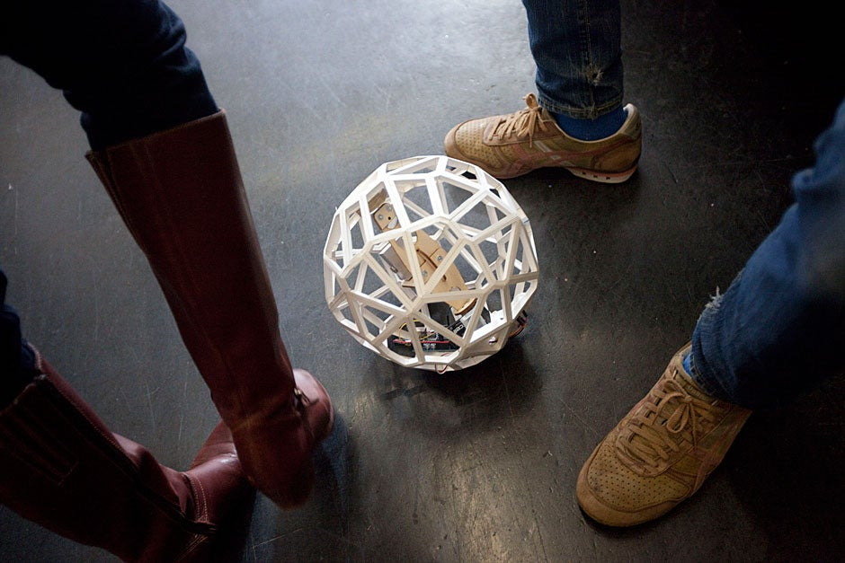 A robotic ball constructed by Brainerd Taylor, a Graduate School of Design student, goes round at Gund Hall. Kris Snibbe/Harvard Staff Photographer