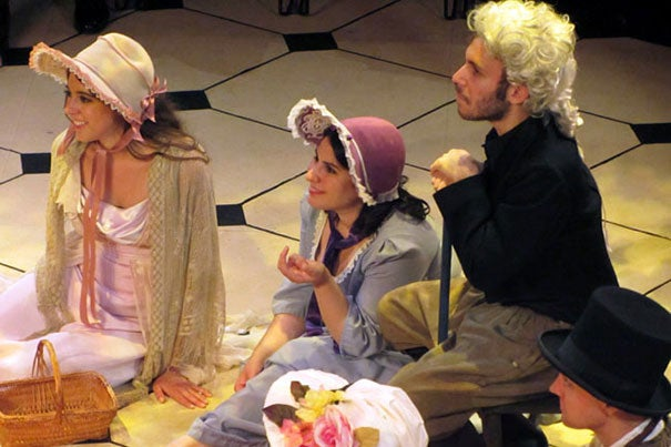 "Harvard-Radcliffe Summer Theatre actors Brenna McDuffie (from left), Zenab Tavakoli, Eli Kahnand, and Teis Jorgensen in the picnic scene from ""Emma."" The student actors often practiced six hours a night, five nights a week, to bring a production to the stage of the Loeb Drama Center Experimental Theater."