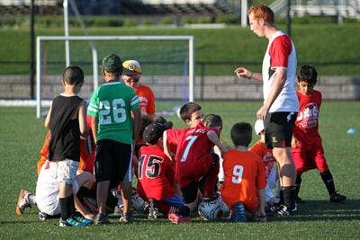 Coaches from Liverpool F.C. conducted a clinic at Harvard for approximately 50 local children — many sporting jerseys of their favorite teams. On July 25, Liverpool F.C. will play against Italian power A.S. Roma at Fenway Park in Boston.