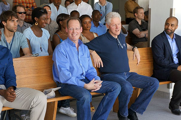 Earlier this year, Harvard Medical School's Paul Farmer, co-founder of Partners In Health (left), was joined by former President Bill Clinton (right) marking the new Mirebalais Hospital in Haiti. On July 18, Clinton rejoined Farmer for the inauguration of the Butaro Cancer Center of Excellence in Rwanda. The Clinton Global Initiative partnered with others to sponsor the first national cancer referral facility in rural Rwanda.