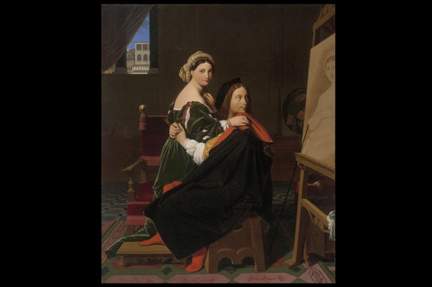 "Elizabeth Rudy, Theodore Rousseau Assistant Curator of European Paintings, noted that French artist Jean-Auguste-Dominique Ingres' ""Raphael and the Fornarina,"" the artist ignores his lover for the gaze of a timeless portrait he's just finished."