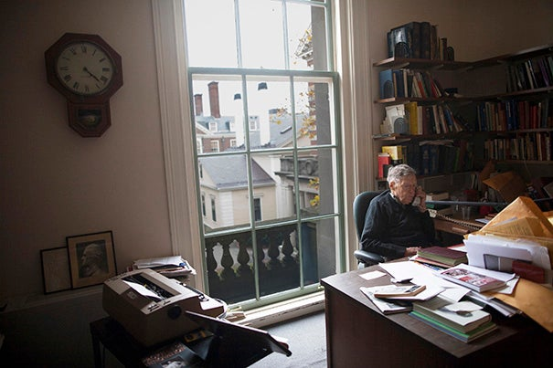 """""""When I turned 30, I thought it was the end of the world,"""" said Daniel Aaron, the Victor S. Thomas Professor of English and American Literature Emeritus, who is celebrating his 100th birthday."""