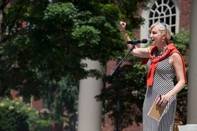 """We once again have another beautiful day to celebrate Cambridge, to celebrate our senior citizens, and to celebrate the strong partnership between Harvard and the city of Cambridge,"" said Vice President of Harvard Public Affairs & Communications Christine Heenan, who urged the audience to sign up for Harvard's email and print newsletters to take advantage of the University's educational and arts offerings."