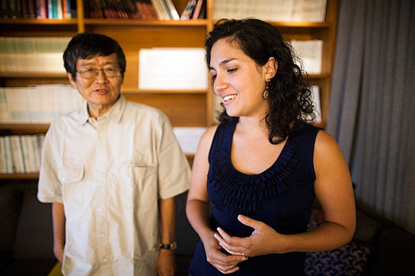 """Ken Nakayama (left) and Laura Germine are co-authors of a study that found that the quality of data obtained by doing psychological studies online can be just as good as that from in-person experiments. """"The thing I like to say about using the Web is that it's fast, it's cheap, but it's not dirty,"""" said Germine. """"In experiments like ours, what you're getting is good, reliable data."""""""