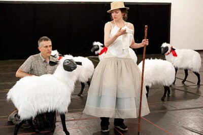 "Actress Brooke Bloom (right) stars as Marie Antoinette in the collaborative production of ""Marie Antoinette,"" produced by Harvard's American Repertory Theater and the Yale Repertory Theatre. Also pictured is David Greenspan, who plays a sheep."