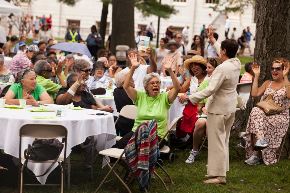 At Harvard's 37th Annual Senior Picnic, local senior citizens enjoy lunch, relax, and connect with acquaintances new and old under a canopy of trees in Tercentenary Theatre.  Stephanie Mitchell/Harvard Staff Photographer