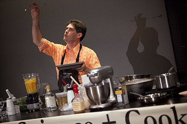 """""""You could spend your whole life thinking about eggs and have a reason to get out of bed every morning,"""" said molecular gastronomy pioneer Dave Arnold, director of the French Culinary Institute's culinary technology department, who kicked off the """"Science and Cooking"""" public lecture series with co-speaker Harold McGee."""