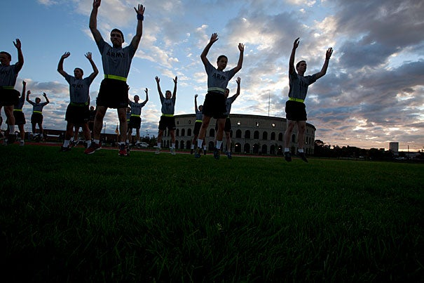 Army ROTC students, part of the Paul Revere Battalion, gathered at dawn at McCurdy Outdoor Track behind Harvard Stadium to begin their group exercise. Monday morning marked the first time in 41 years that the Reserve Officers' Training Corps students have used Harvard campus facilities for their training.