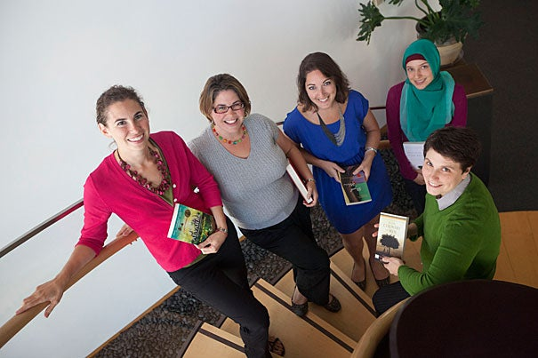 Erin Goodman (from left), Cris Martin, Elise Noel, Krystina Friedlander, and Anna Mudd are all founders of the Global Literature Online Book Group for Educators book club and staffers at the Center for Middle Eastern Studies, the Rockefeller Center for Latin American Studies, the Davis Center for Russian and Eurasian Studies, the Prince Alwaleed Bin Talal Islamic Studies Program, and the Committee on African Studies, which are sponsoring the club.
