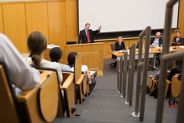 University Professor William Julius Wilson not only made poverty a topic that was acceptable and indeed important to reflect on and think about and deal with, he actually put academic rigor and frames and substance around these issues with strong, compelling hypotheses and data, said David T. Ellwood (at podium), Harvard Kennedy School dean and conference panelist.