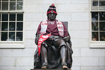 The John Harvard Statue gets a special look for a special day.