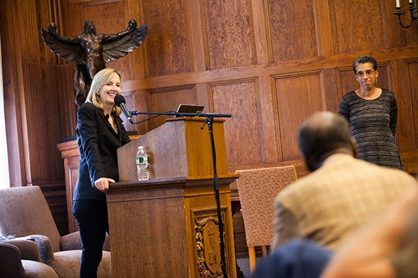 "Pulitzer Prize-winning author Diane McWhorter, who spoke as part of the W.E.B. Du Bois Institute's Colloquium Series on Wednesday, said she decided to re-issue her prize-winning book, ""Carry Me Home: Birmingham, Alabama, The Climactic Battle of the Civil Rights Revolution,"" after she discovered new materials on the subject. Introducing McWhorter was Jane Rhodes (right), the Joy Foundation Fellow at the Radcliffe Institute."