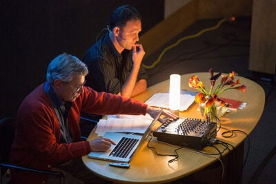 "Bernie Krause (left), author of ""The Great Animal Orchestra,"" and Jonathan Skinner, poet and founding editor of Ecopoetics, perform a call-and-response poetic soundscape. See sidebar for audio examples."