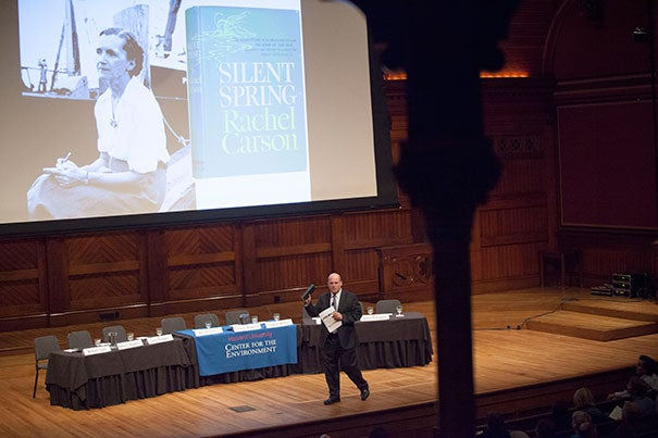 """""""This was a book, in some ways, that really changed at least the U.S. and perhaps even the world,"""" said Daniel Schrag, director of the Harvard University Center for the Environment, who hosted """"Science and Advocacy: The Legacy of Silent Spring"""" at Sanders Theatre."""