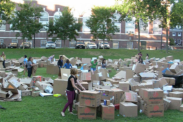 """""""When students and custodians had an opportunity to participate in setting a world record, it was one more reason to save boxes from being wasted,"""" said Rob Gogan, manager of recycling and waste services at Harvard Campus Services. """"It was fun to watch the pride with which students who had donated boxes pointed out to their friends where their boxes fit in the overall fort. I hope we can mobilize another student to pick up the torch next fall after Laura graduates."""""""