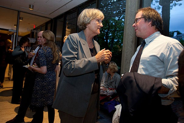 "Harvard President Drew Faust (left) spoke with filmmaker Ric Burns, whose latest documentary, ""Death and the Civil War,"" was inspired by Faust's book ""This Republic of Suffering."""
