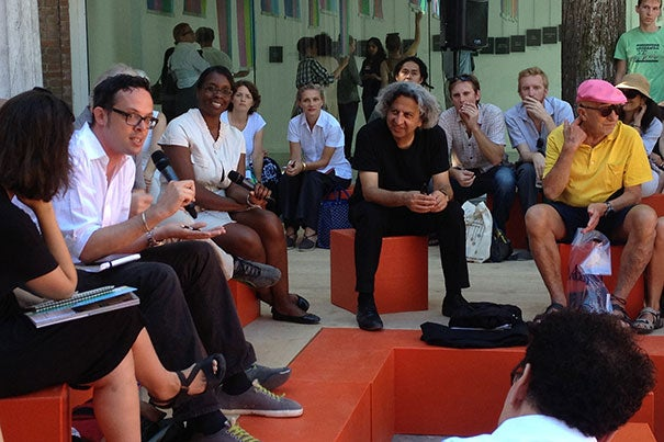 "Dean Mohsen Mostafavi (center, seated) played a prominent role at the Venice Biennale, a three-month contemporary architecture festival, where he unveiled one of the GSD's newest publications, ""Instigations: Engaging Architecture, Landscape, and the City,"" a work developed by GSD and Lars Müller Publishers."