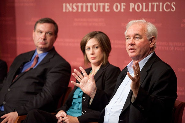 John Fund (from left), senior editor of The American Spectator, and Jennie Bowser, senior fellow, National Conference of State Legislatures, listen as Harvard Kennedy School Professor Alex Keyssar makes his point.