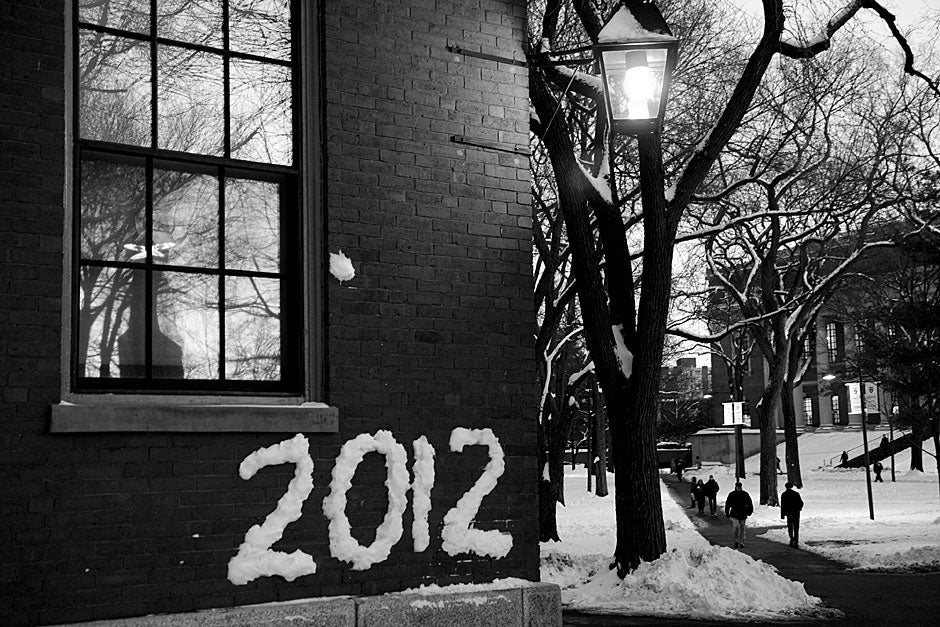 The snow eventually melted but not before this year was immortalized on Thayer Hall in Harvard Yard. Jon Chase/Harvard Staff Photographer