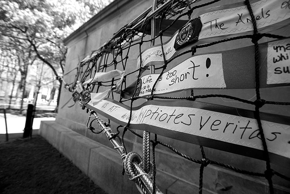 "This web of words, ""Interspecies Invitational,"" was a project unveiled in the spring at Arts First 2012. Rose Lincoln/Harvard Staff Photographer"