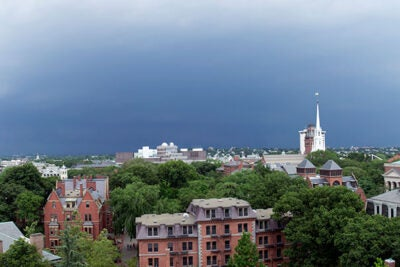 Harvard suspended most operations for Monday because of the giant storm.
