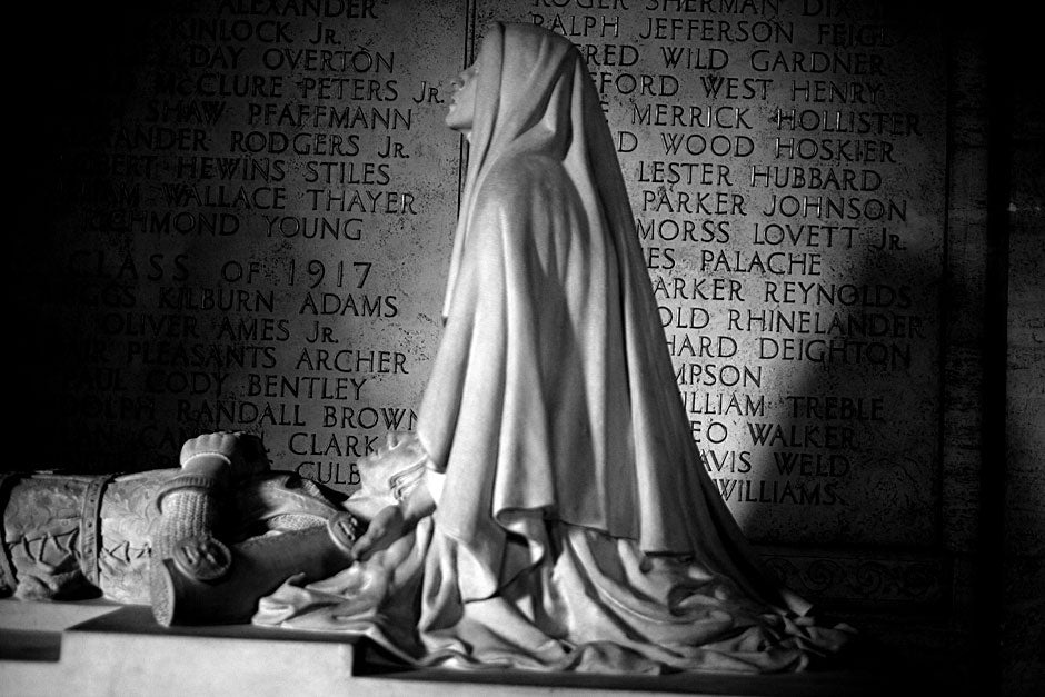 "The names of Harvard alumni who died in World War I are engraved alongside a Malvina Hoffman sculpture called ""The Sacrifice."" Rose Lincoln/Harvard Staff Photographer"
