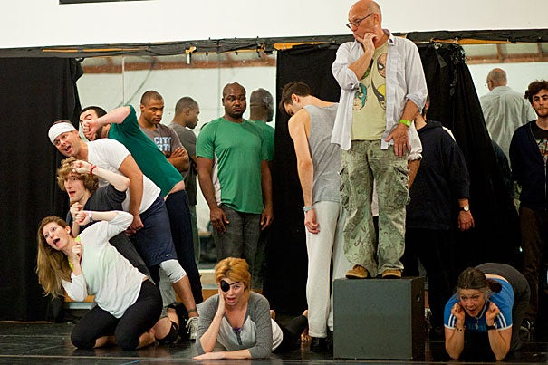 """Harvard College students Lily Glimcher '14 (lower left) and Mark Mauriello '15 (above Glimcher) rehearsed with other actors for the upcoming production of the A.R.T.'s new play """"The Lily's Revenge."""""""