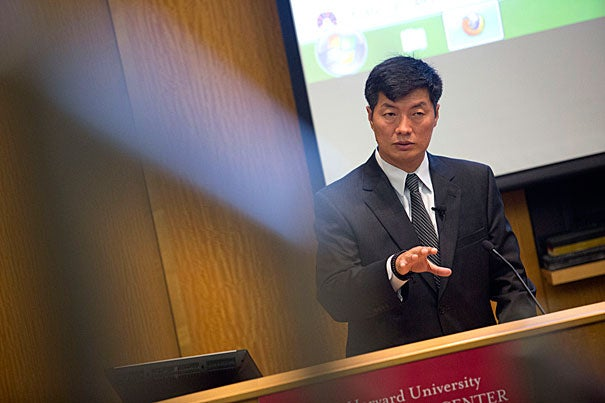 Tuesday's visit by Tibetan prime minister Lobsang Sangay, LL.M. '95, S.J.D. '04., drew a packed crowd to Tsai Auditorium to hear his thoughts on Tibet's relations with China.