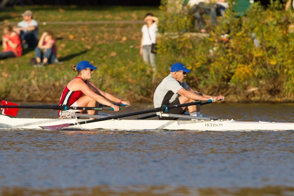 They give it the old heave-ho, racing past spectators sprawled along the Charles on a springlike October day.