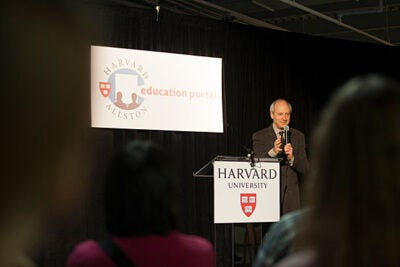 "Harvard Professor Michael Sandel helped celebrate the Harvard Allston Education Portal's fifth anniversary with a lecture. Sandel, a noted political philosopher, discussed the ethical dilemmas that arise in a world where everything is ""up for sale."""
