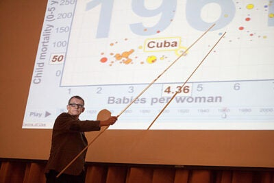 For Hans Rosling, a physician and co-founder of the Gapminder Foundation, busting myths is a full-time job. Rosling delivered the Department of Statistics' Pickard Memorial Lecture on Oct. 25, the day after winning the Harvard Foundation's Peter J. Gomes Humanitarian Award.