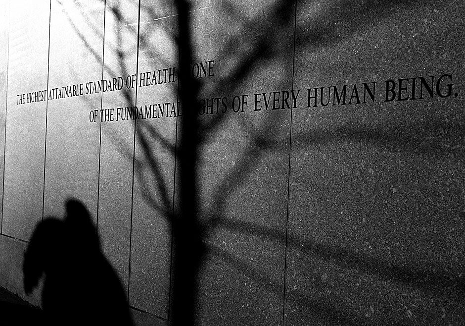 """This wall at the Harvard School of Public Health declares, """"The highest attainable standard of health is one of the fundamental rights of every human being."""" Rose Lincoln/Harvard Staff Photographer"""