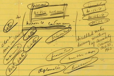 "Detail of notes taken by President John F. Kennedy during a meeting of his security council on Oct. 25, 1962. Note the word ""missile"" written repeatedly in the upper right corner."