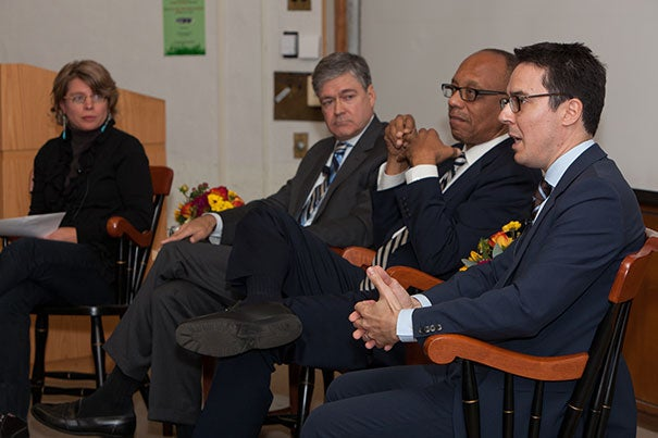 """Moderator Jill Lepore (from left) with political journalists John Harwood, Eugene Robinson, and Ryan Lizza at """"Press and the Race: A Presidential Election Roundtable."""""""